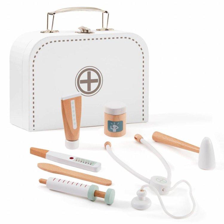 KIDS CONCEPT. Βαλιτσάκι γιατρού με ξύλινα όργανα (λευκό)