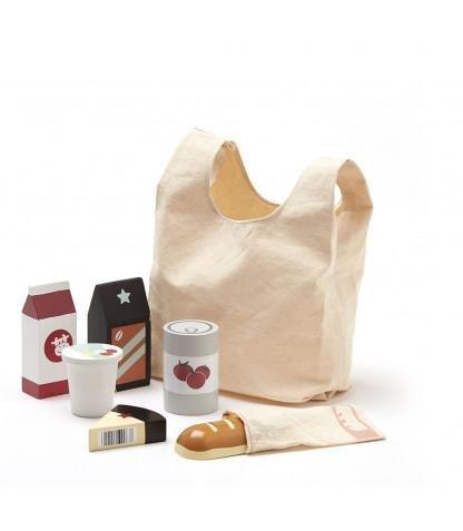 KIDS CONCEPT. Σακούλα για ψώνια με 6 ξύλινα προϊόντα