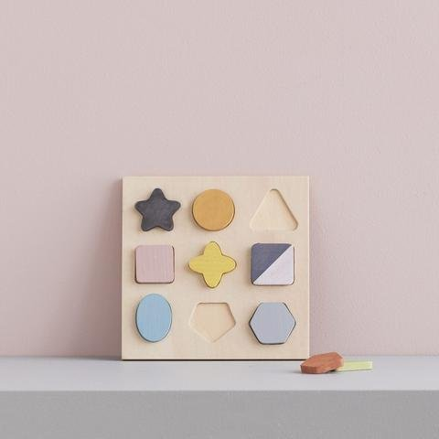 KIDS CONCEPT. Ξύλινo παζλ-σφηνώματα με γεωμετρικά σχήματα (πολύχρωμο)