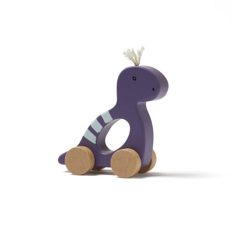 KIDS CONCEPT. Ξύλινος τροχήλατος Δεινόσαυρος (μπλε)
