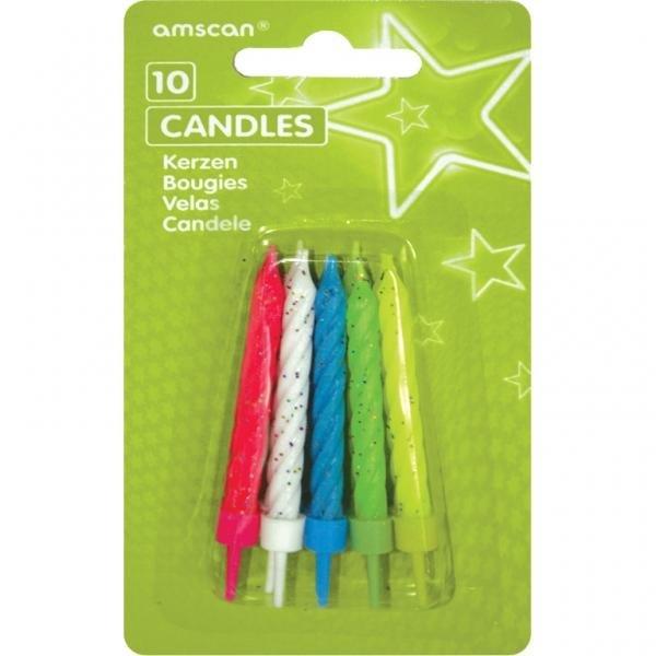 Κεριά Με Βάσεις Glitter Ασς. 10τεμ.
