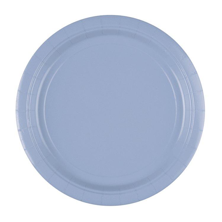 Πιάτα χαρτ. φαγητού 23εκ Pastel Blue /8 τεμ