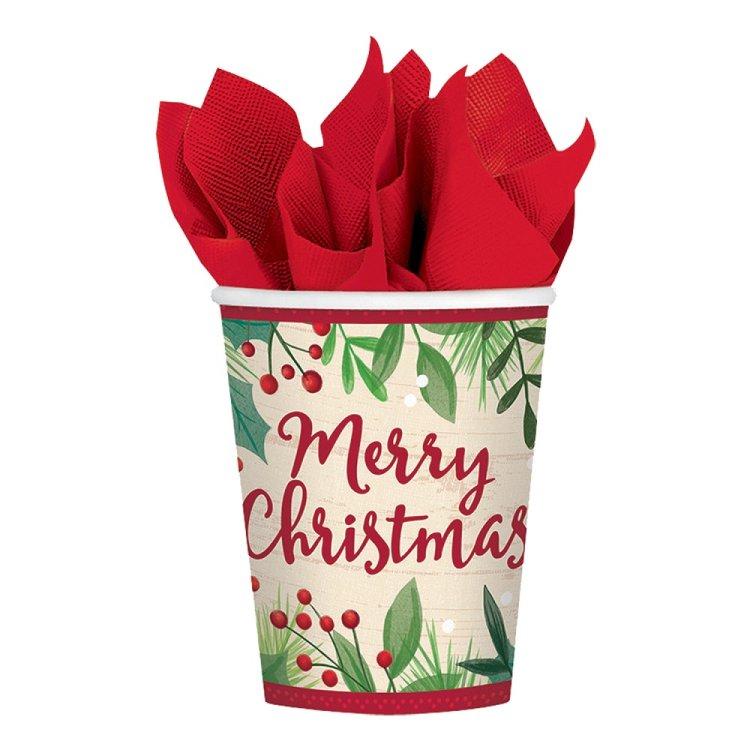 Ποτήρια χάρτινα Merry Holly Day Christmas / 8τεμ.
