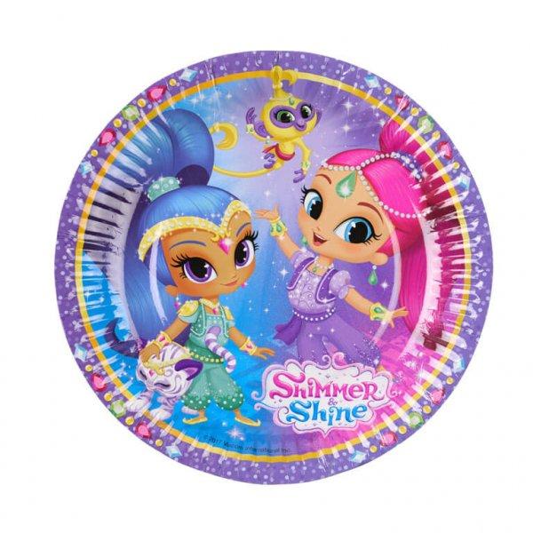 Πιάτα χάρτινα γλυκού 18εκ Shimmer & Shine /8 τεμ