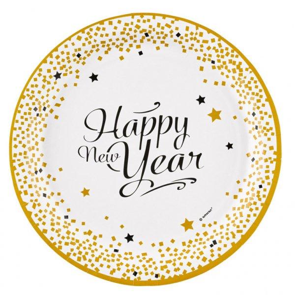 Πιάτα χάρτινα 23εκ Happy New Year /8 τεμ
