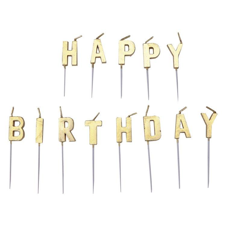 Κεριά Μίνι Happy Birthday Χρυσό