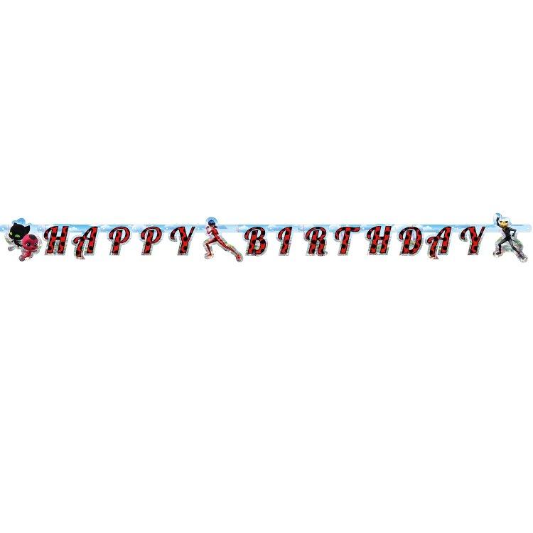 Γιρλάντα γράμματα Happy Birthday Miraculous LadyBug