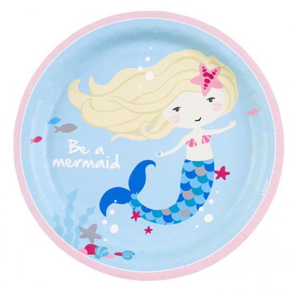 Πιάτα χάρτινα φαγητού 23εκ Be a Mermaid /8τεμ