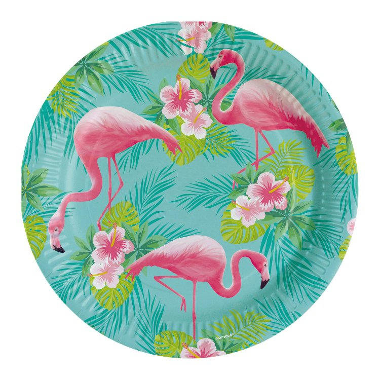 Πιάτα χάρτινα φαγητού 23εκ Flamingo Paradise /8 τεμ