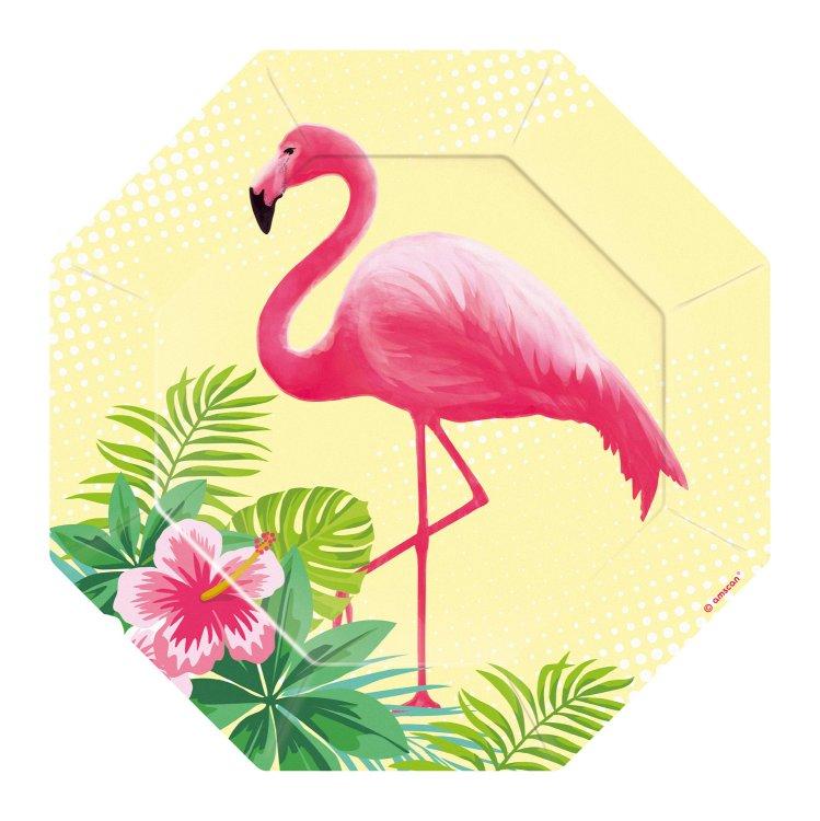 Πιάτα χάρτινα γλυκού 18εκ Flamingo Paradise 8 τεμ.