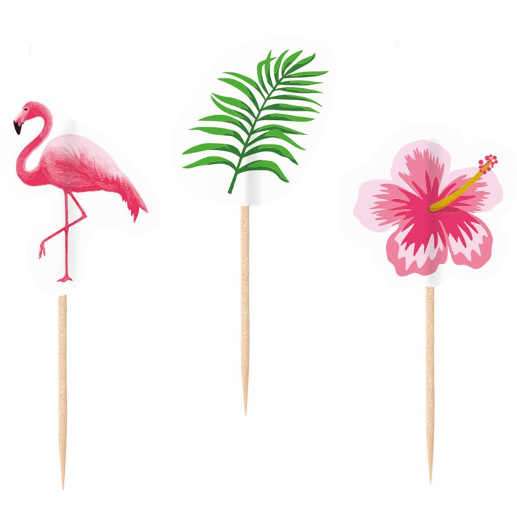 Διακοσμητικές οδοντογλυφίδες ασσορτί Flamingo Paradise / 20 τεμ.