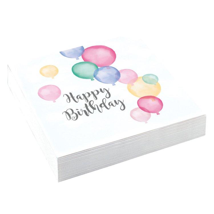 Χαρτοπετσέτες φαγητού 33εκ Happy Birthday Pastel /20 τεμ