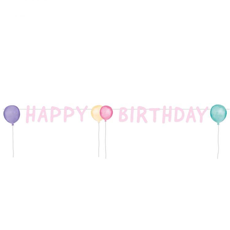 Γιρλάντα γράμματα Happy Birthday Pastel