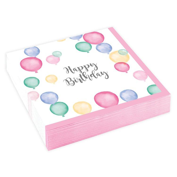 Χαρτοπετσέτες γλυκού 25εκ Happy Birthday Pastel /20 τεμ