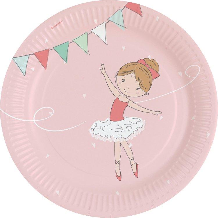 Πιάτα χάρτινα φαγητού 23εκ Little Dancer /8 τεμ