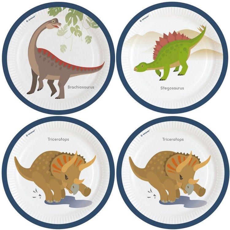 Πιάτα χάρτινα φαγητού 23εκ Happy Dinosaur /8 τεμ