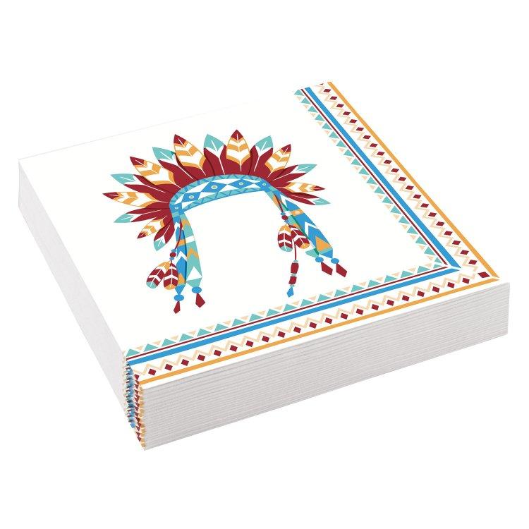 Χαρτοπετσέτες 33 εκ Ινδιάνος Tepee & Tomahawk / 20 τεμ