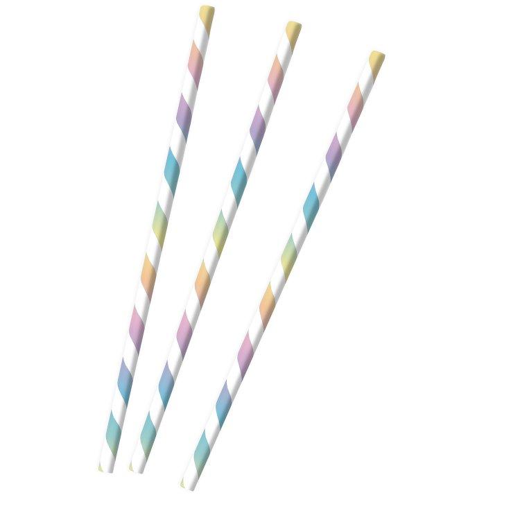 Καλαμάκια Χάρτινα Πολύχρωμο Pastel Rainbow /12 τεμ