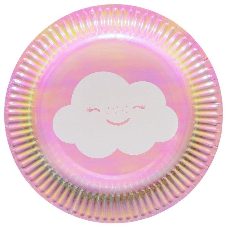 Πιάτα χάρτινα γλυκού 18εκ Rainbow & Cloud /8 τεμ