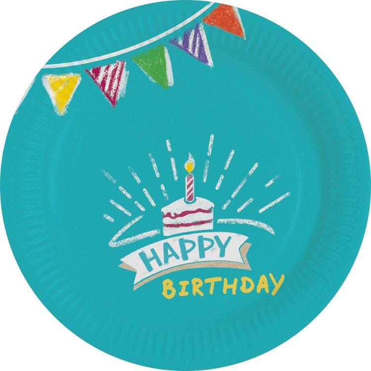 Πιάτα χάρτινα γλυκού 18εκ My Birthday Party /8 τεμ
