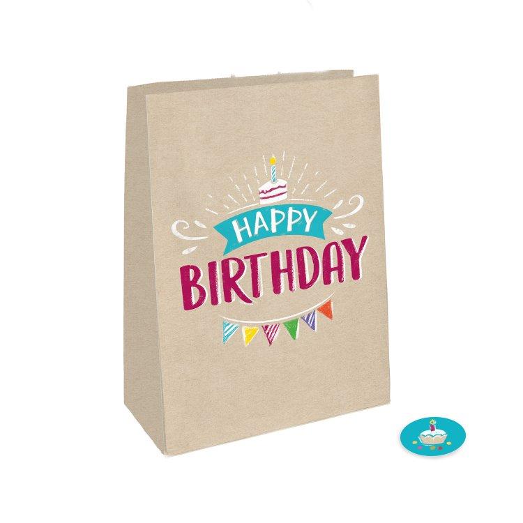 Χάρτινες Σακούλες My Birthday Party 4 τεμ / 14,7 εκ Χ 21εκ