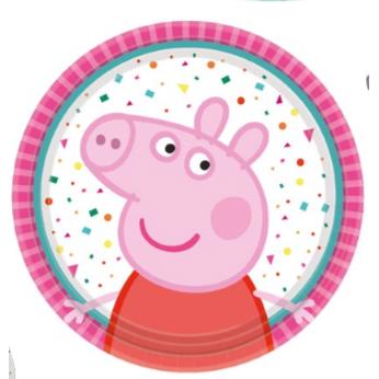 Πιάτα Χάρτινα γλυκού 18 εκ Peppa Pig / 8 τεμ