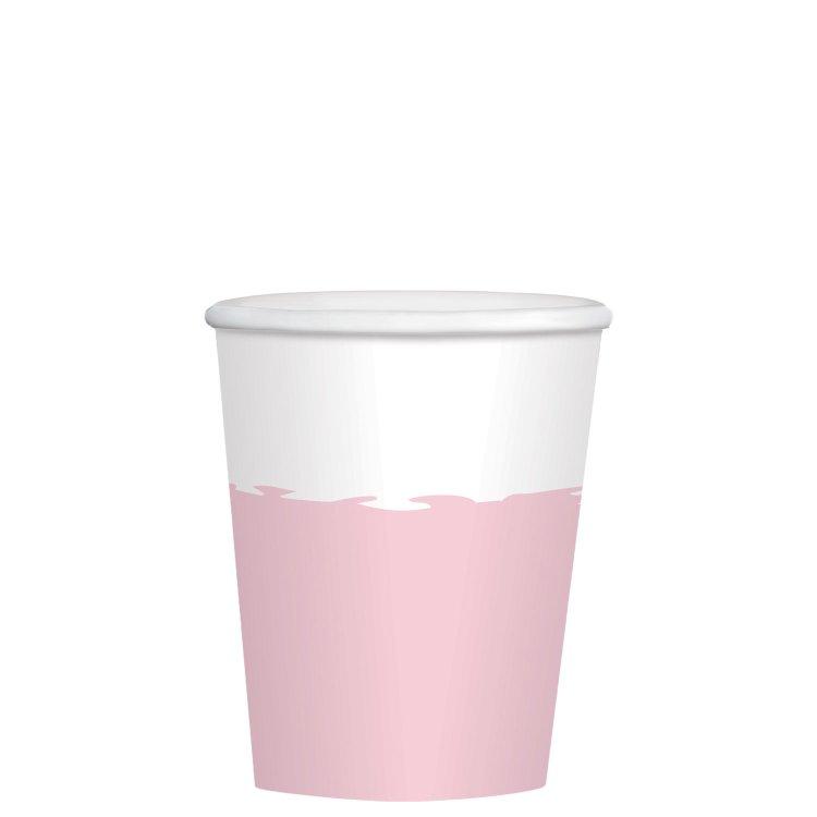 Ποτήρια χάρτινα 250ml Ροζ & Λευκό /8 τεμ