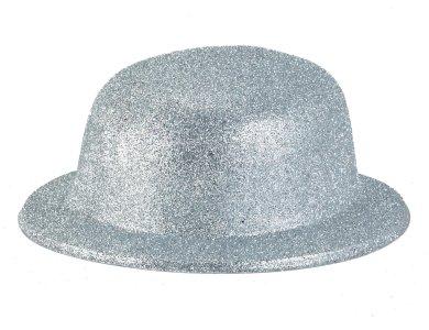 Αποκριάτικο Αξεσουάρ Καπέλο με γκλίτερ Ασημί