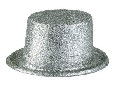 Αποκριάτικο Αξεσουάρ Καπέλο Ημίψηλο με γκλίτερ Ασημί