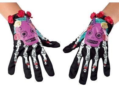 Αποκριάτικο Αξεσουάρ Γάντια Σκελετός&Λουλούδι