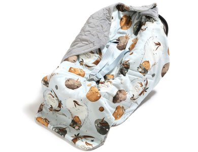 ORGANIC JERSEY CAR SEAT BLANKET(ΔΙΠΛΗΣ ΟΨΗΣ) – FLY ME TO THE MOON SKY – GREY