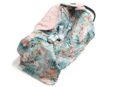 ORGANIC JERSEY CAR SEAT BLANKET (ΔΙΠΛΗΣ ΟΨΗΣ)- BOHO PALMS – SMOKE ROSE