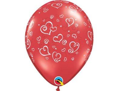 """Μπαλόνια Λάτεξ 11"""" Swirl Hearts / 50 τεμ"""