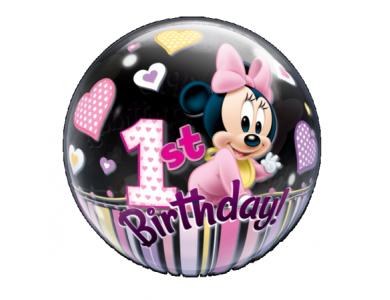"""Bubble μονό Minnie 1st Birthday 22"""""""