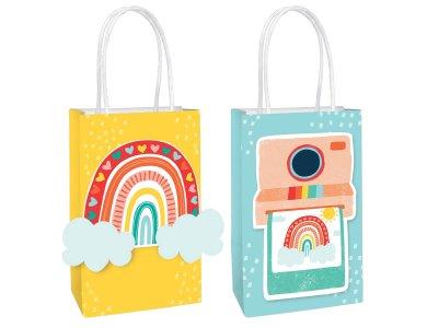 Τσάντες Δώρου Χάρτινες Retro Rainbow DIY / 8 pcs