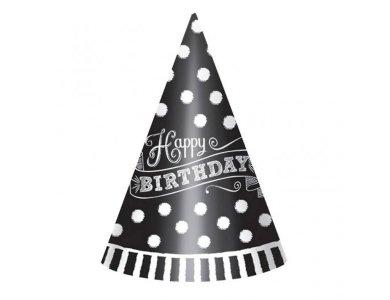 Καπέλα BIRTHDAY Black N White Πουά 12τεμ.