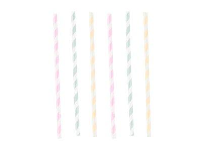 Καλαμάκια Χάρτινα Happy Birthday Pastel 12 τεμ.