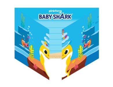 Προσκλήσεις με Φακέλους Baby Shark  / 8 τεμ