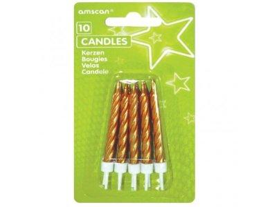 Κεριά με βάσεις Χρυσά /10 τεμ