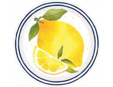 Πιάτα χάρτινα γλυκού 17.7 εκ Lemons / 8 τεμ
